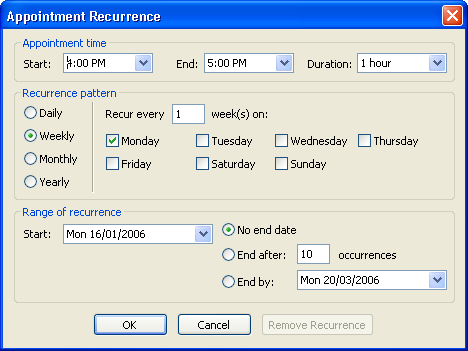 Screenshot showing the recurrence dialog box with weekly recurrence selected