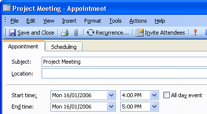 Screenshot showing the start and end time of the meeting in the US time zone.