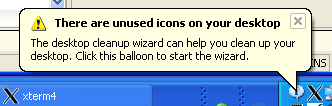 'There are unused icons on your desktop' alert raised by Windows XP